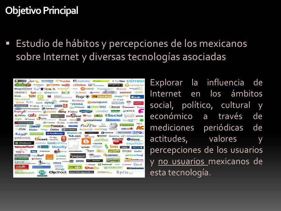 Objetivo Principal Estudio de hábitos y percepciones de los mexicanos sobre Internet y diversas tecnologías asociadas.