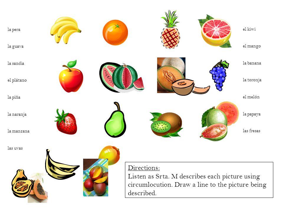 la pera la guava. la sandia. el plátano. la piña. la naranja. la manzana. las uvas. el kiwi.