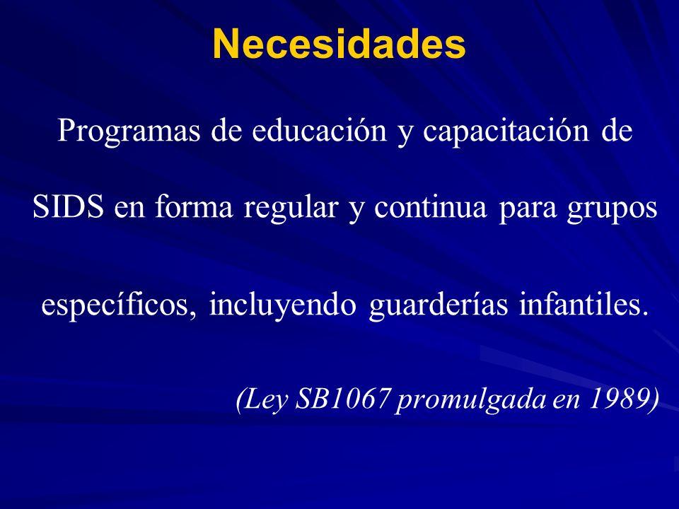 Necesidades Programas de educación y capacitación de