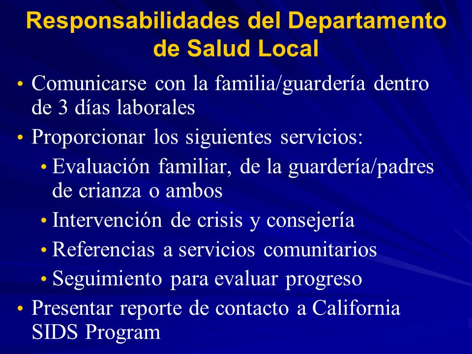 Responsabilidades del Departamento de Salud Local