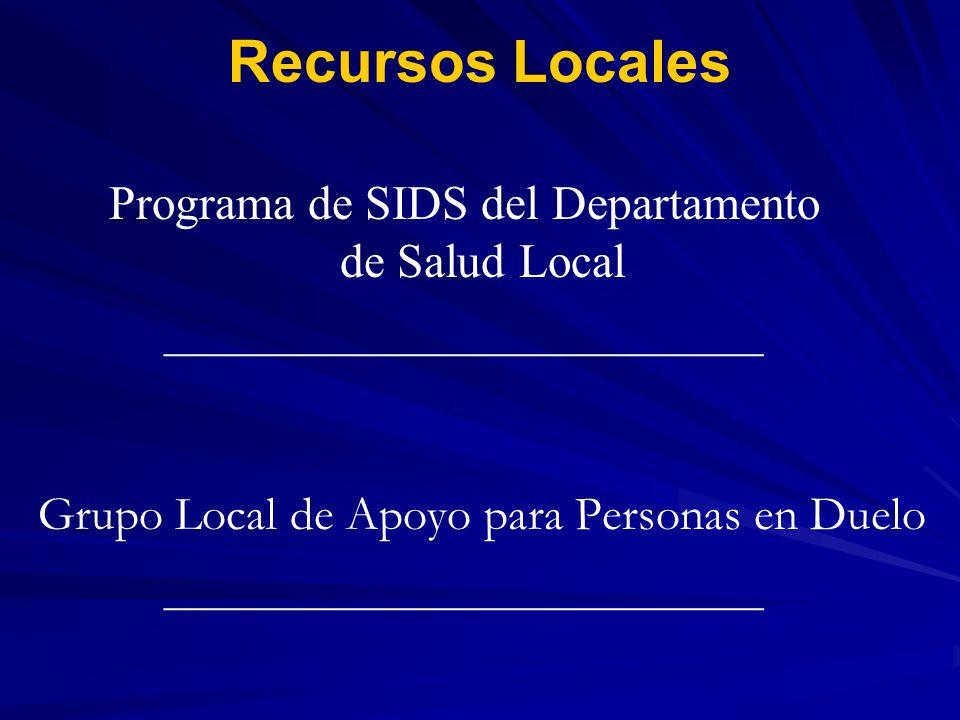 Recursos Locales Programa de SIDS del Departamento de Salud Local