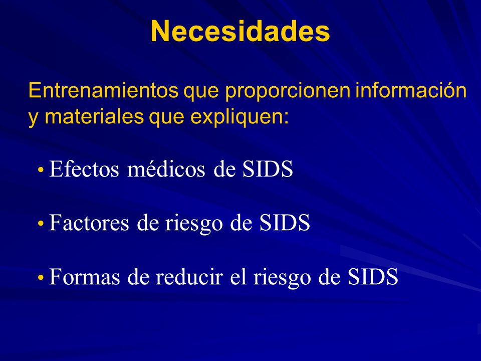 Necesidades Efectos médicos de SIDS Factores de riesgo de SIDS