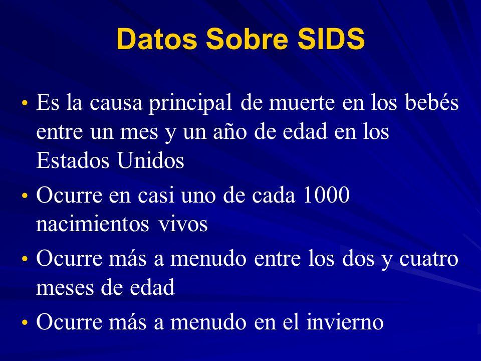 Datos Sobre SIDS Es la causa principal de muerte en los bebés entre un mes y un año de edad en los Estados Unidos.
