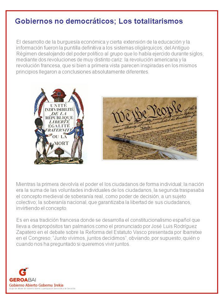 Gobiernos no democráticos; Los totalitarismos