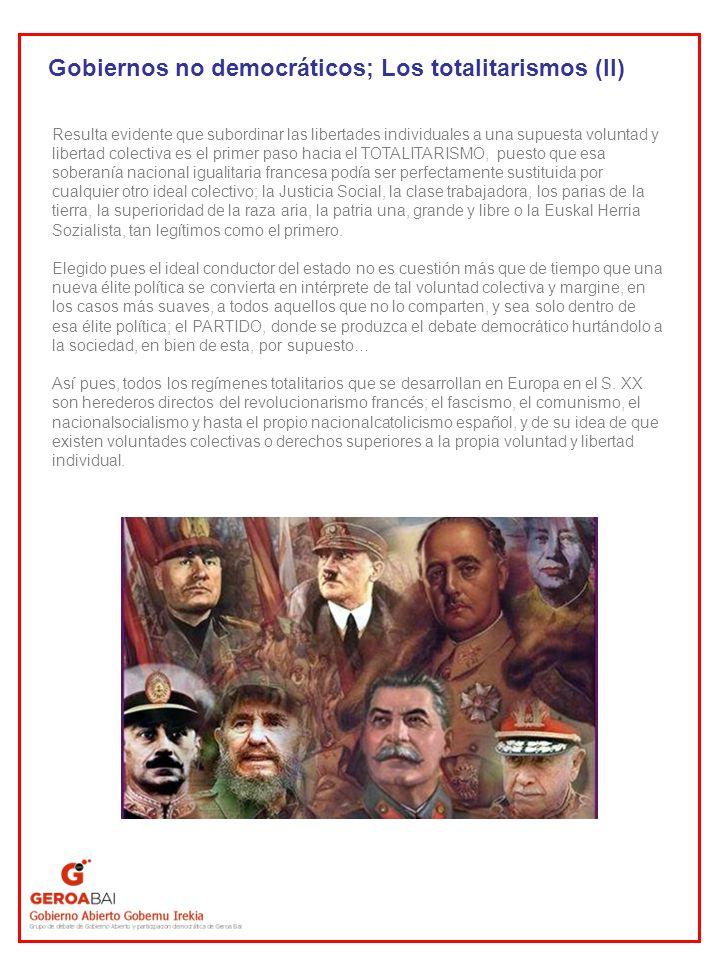 Gobiernos no democráticos; Los totalitarismos (II)