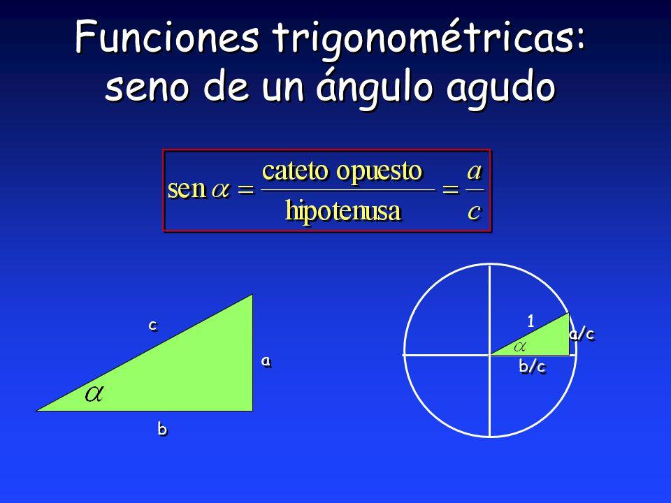 Funciones trigonométricas: seno de un ángulo agudo