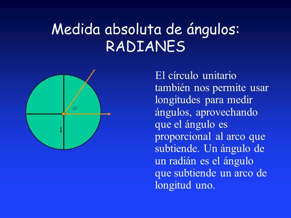 Medida absoluta de ángulos: RADIANES