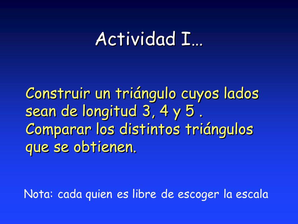Actividad I… Construir un triángulo cuyos lados sean de longitud 3, 4 y 5 . Comparar los distintos triángulos que se obtienen.