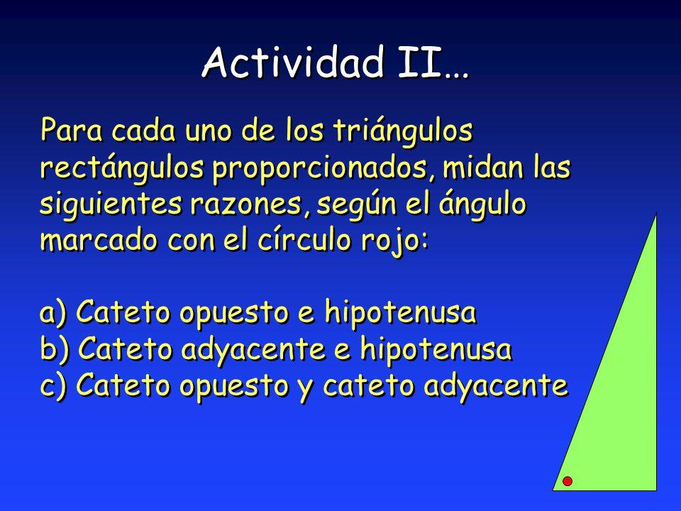 Actividad II… Para cada uno de los triángulos rectángulos proporcionados, midan las siguientes razones, según el ángulo marcado con el círculo rojo: