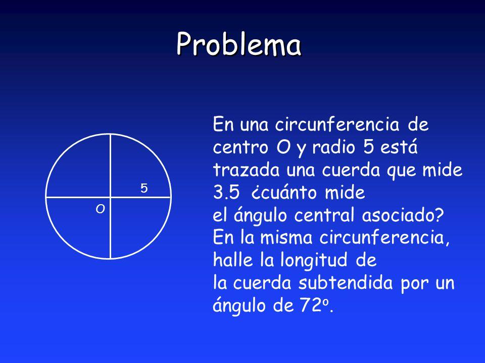 Problema En una circunferencia de centro O y radio 5 está