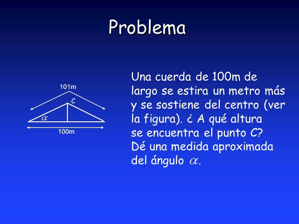 Problema Una cuerda de 100m de largo se estira un metro más