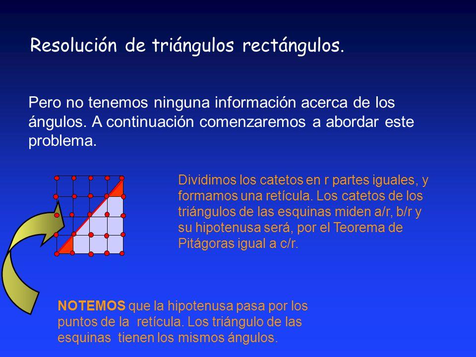 Resolución de triángulos rectángulos.