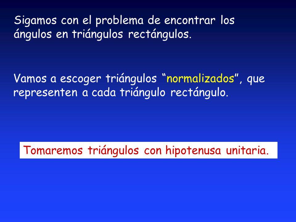 Sigamos con el problema de encontrar los ángulos en triángulos rectángulos.