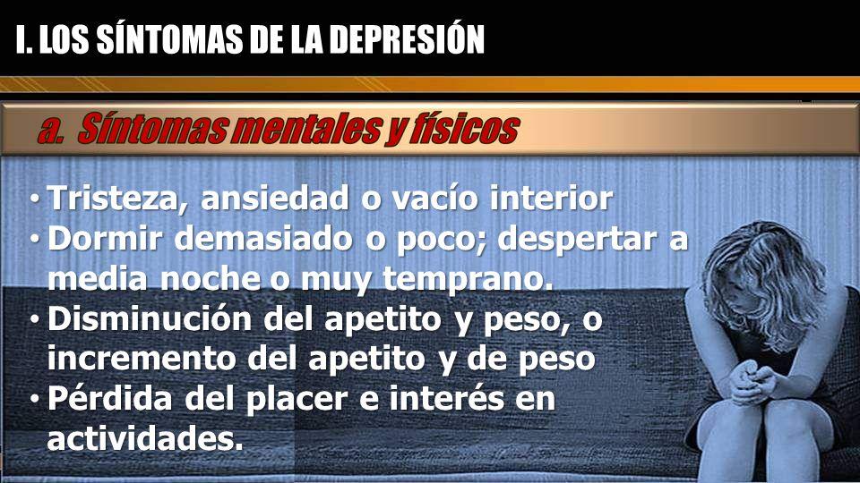 I. LOS SÍNTOMAS DE LA DEPRESIÓN