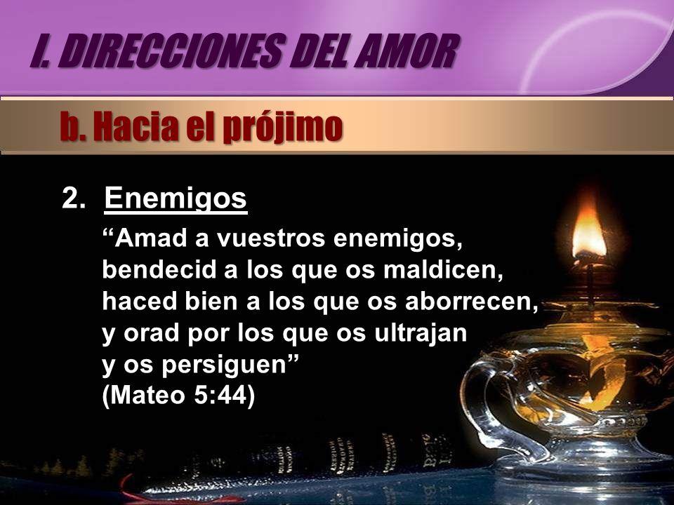 I. DIRECCIONES DEL AMOR b. Hacia el prójimo Enemigos