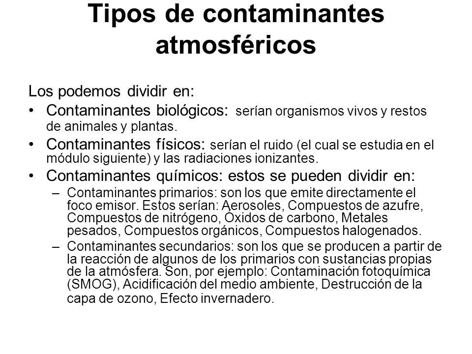 Tipos de contaminantes atmosféricos