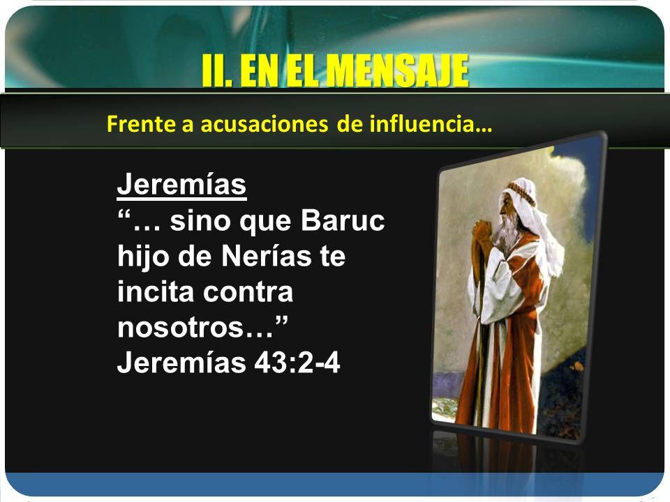 II. EN EL MENSAJE Jeremías