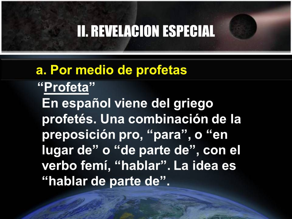 II. REVELACION ESPECIAL