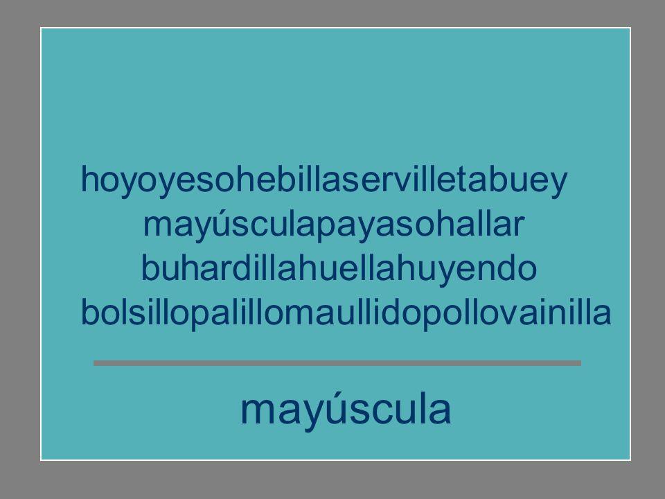 mayúscula hoyoyesohebillaservilletabuey mayúsculapayasohallar