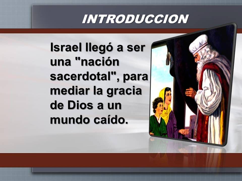 INTRODUCCIONIsrael llegó a ser una nación sacerdotal , para mediar la gracia de Dios a un mundo caído.