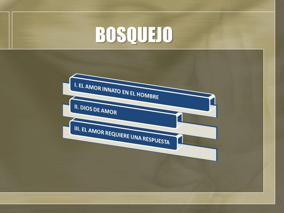 BOSQUEJO I. EL AMOR INNATO EN EL HOMBRE II. DIOS DE AMOR