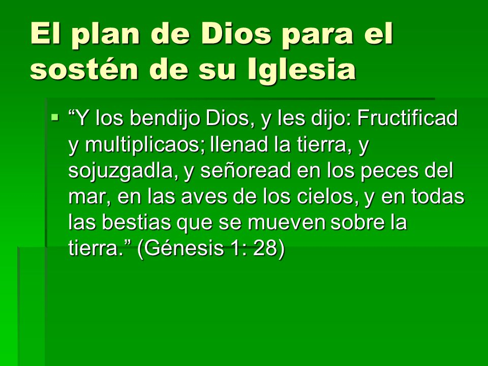 El plan de Dios para el sostén de su Iglesia