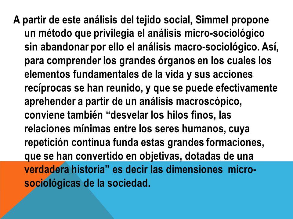 A partir de este análisis del tejido social, Simmel propone un método que privilegia el análisis micro-sociológico sin abandonar por ello el análisis macro-sociológico.