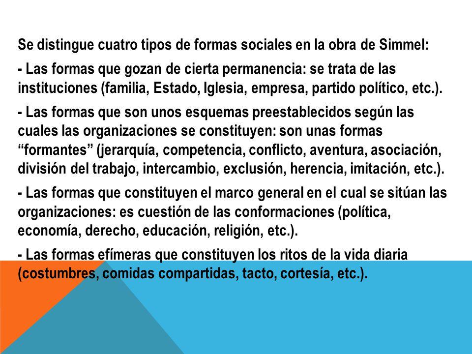 Se distingue cuatro tipos de formas sociales en la obra de Simmel: - Las formas que gozan de cierta permanencia: se trata de las instituciones (familia, Estado, Iglesia, empresa, partido político, etc.).