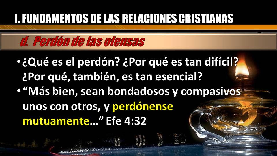 I. FUNDAMENTOS DE LAS RELACIONES CRISTIANAS