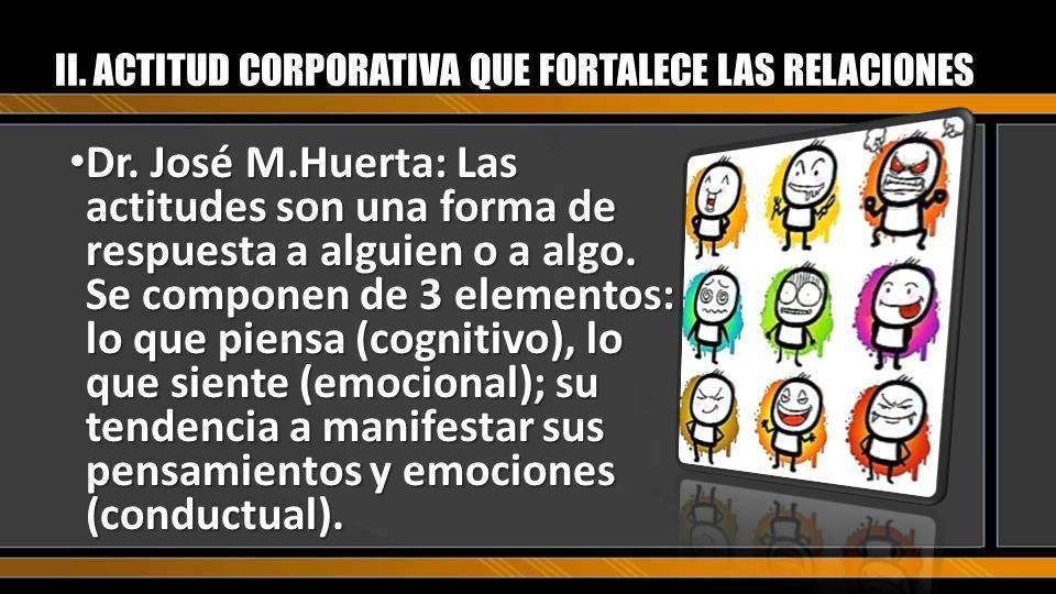 II. ACTITUD CORPORATIVA QUE FORTALECE LAS RELACIONES