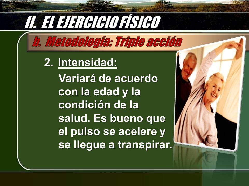 II. EL EJERCICIO FÍSICO Intensidad: