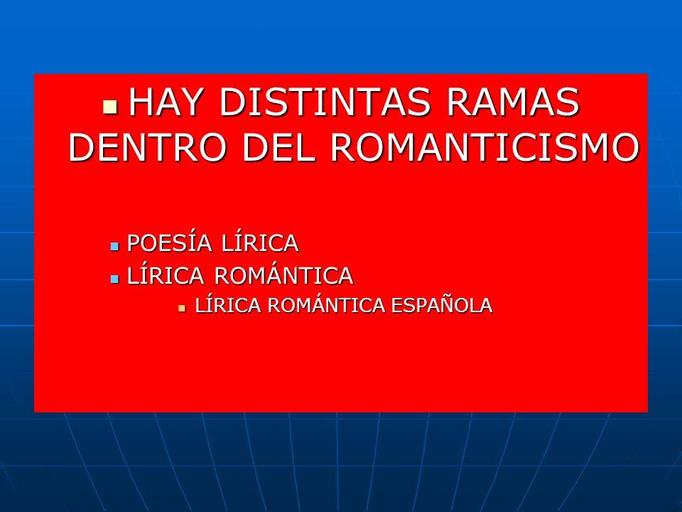 HAY DISTINTAS RAMAS DENTRO DEL ROMANTICISMO