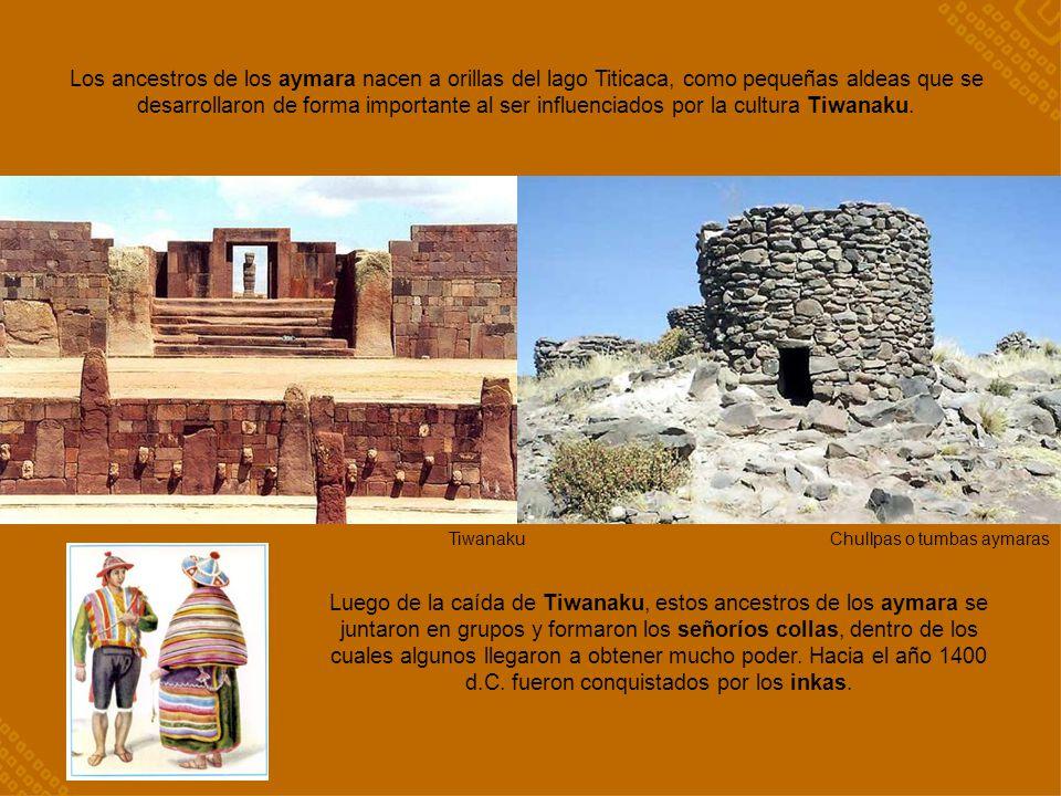 Los ancestros de los aymara nacen a orillas del lago Titicaca, como pequeñas aldeas que se desarrollaron de forma importante al ser influenciados por la cultura Tiwanaku.
