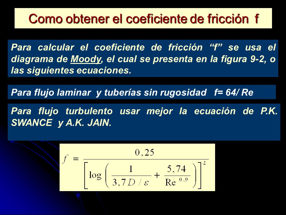 Como obtener el coeficiente de fricción f