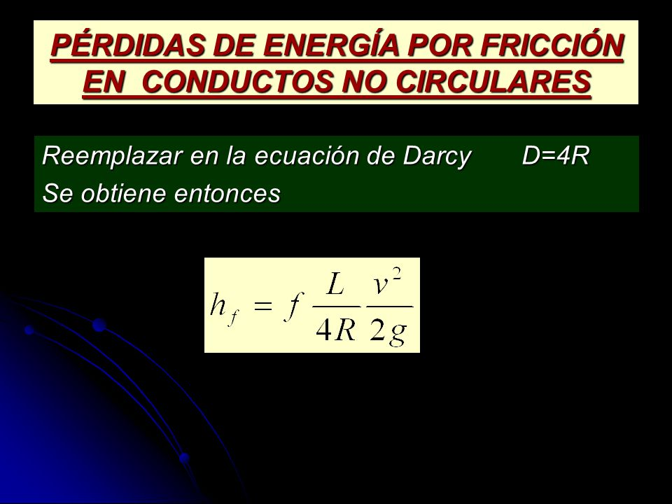 PÉRDIDAS DE ENERGÍA POR FRICCIÓN EN CONDUCTOS NO CIRCULARES
