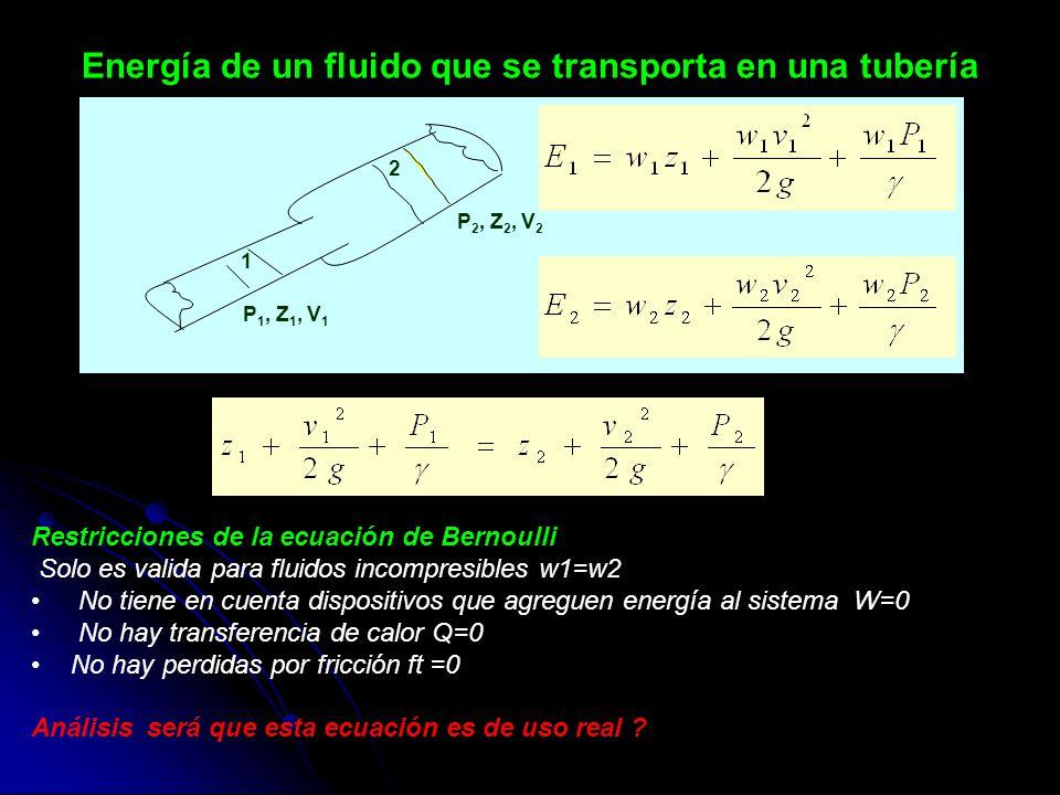 Energía de un fluido que se transporta en una tubería