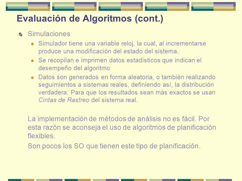 Evaluación de Algoritmos (cont.)
