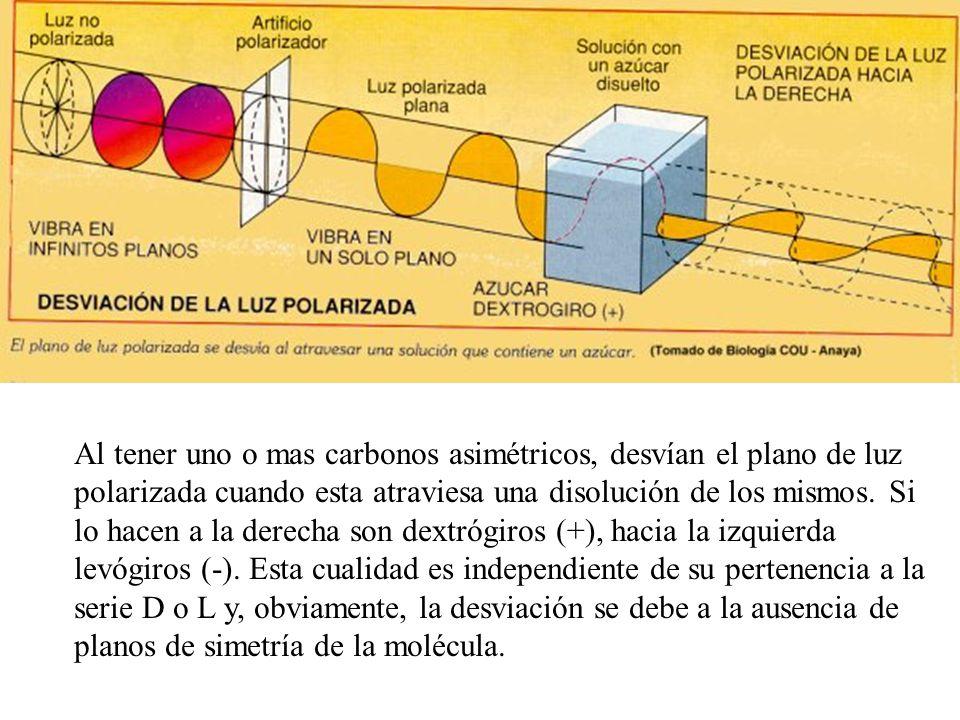 Al tener uno o mas carbonos asimétricos, desvían el plano de luz polarizada cuando esta atraviesa una disolución de los mismos.
