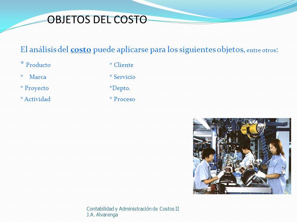 OBJETOS DEL COSTOEl análisis del costo puede aplicarse para los siguientes objetos, entre otros: * Producto * Cliente.