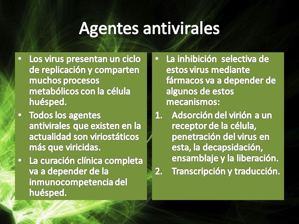 Agentes antivirales Los virus presentan un ciclo de replicación y comparten muchos procesos metabólicos con la célula huésped.