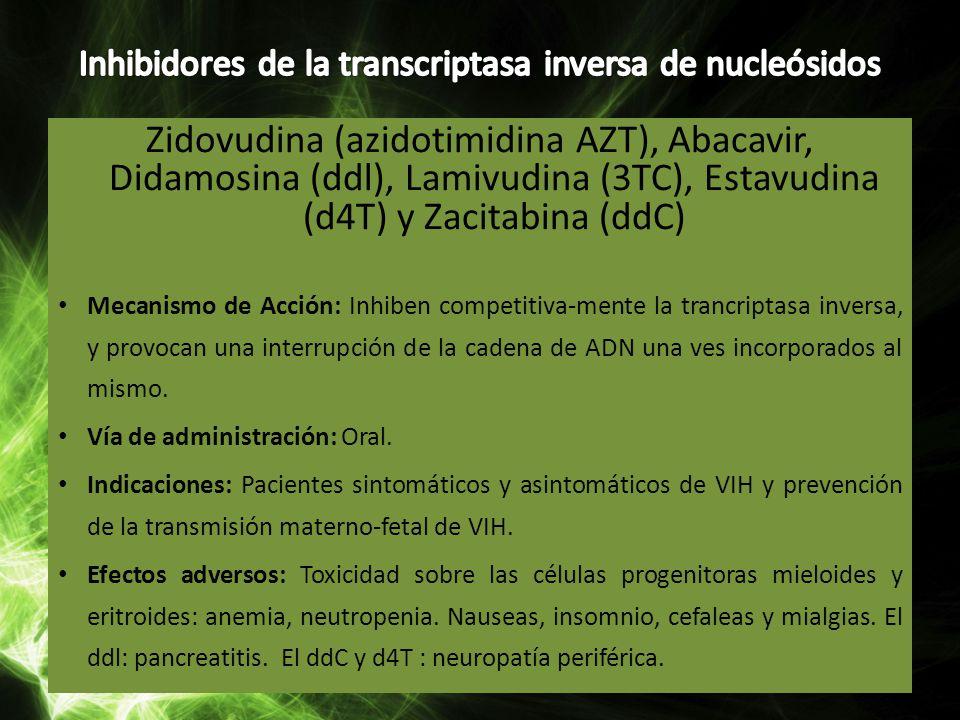 Inhibidores de la transcriptasa inversa de nucleósidos