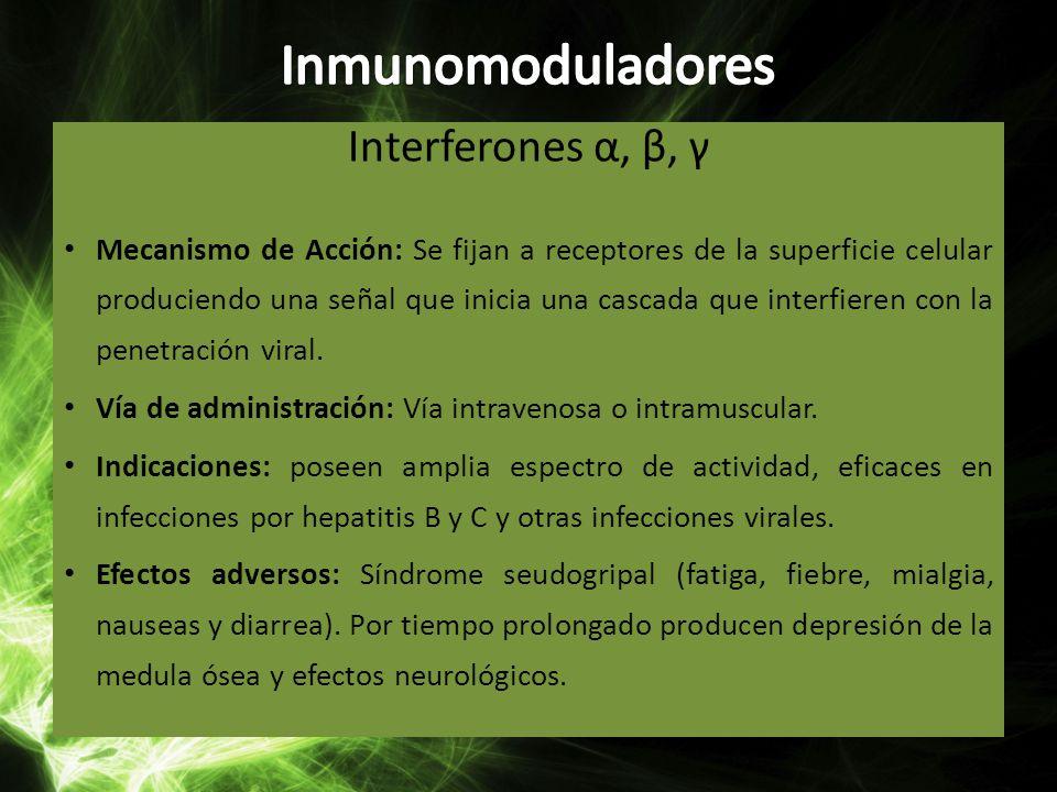 Inmunomoduladores Interferones α, β, γ