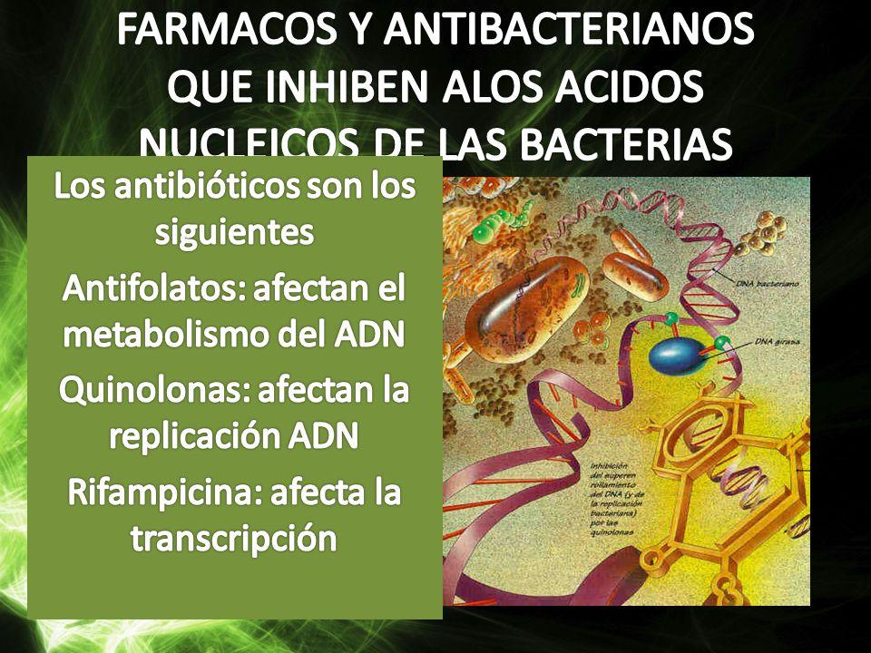 FARMACOS Y ANTIBACTERIANOS QUE INHIBEN ALOS ACIDOS NUCLEICOS DE LAS BACTERIAS