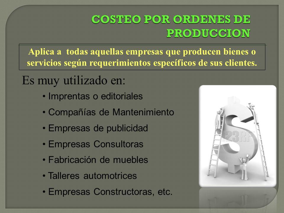 COSTEO POR ORDENES DE PRODUCCION