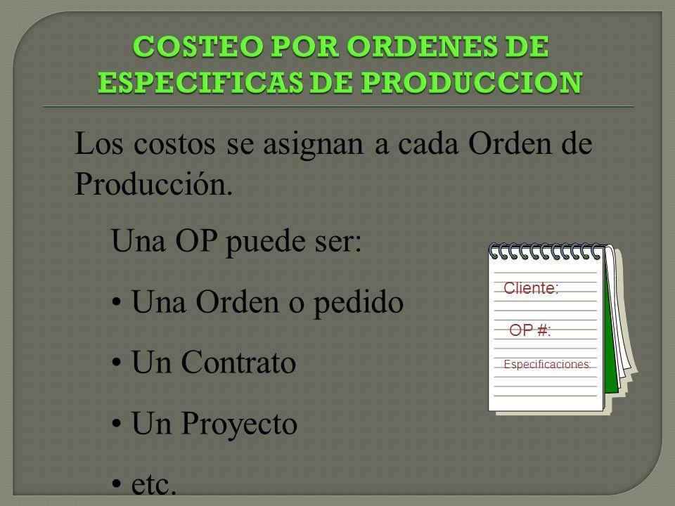 COSTEO POR ORDENES DE ESPECIFICAS DE PRODUCCION