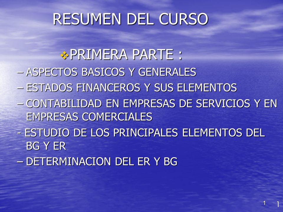 RESUMEN DEL CURSO PRIMERA PARTE : ASPECTOS BASICOS Y GENERALES