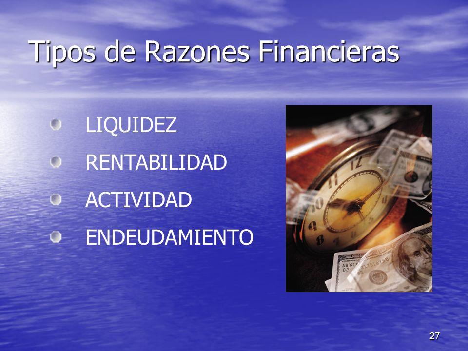 Tipos de Razones Financieras