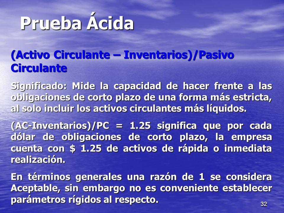 Prueba Ácida (Activo Circulante – Inventarios)/Pasivo Circulante