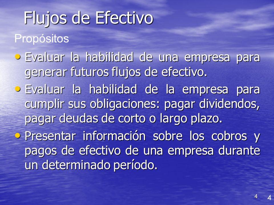 Flujos de Efectivo Propósitos. Evaluar la habilidad de una empresa para generar futuros flujos de efectivo.
