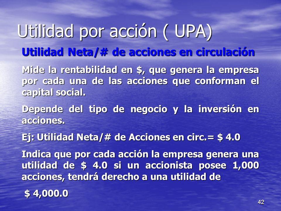 Utilidad por acción ( UPA)